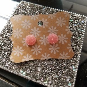 Druzy Post Earrings
